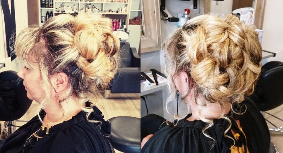 Chignon pour un mariage sur cheveux long et épais