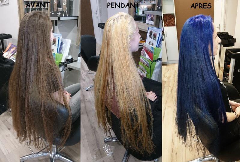 Décoloration tête entière puis recoloré en bleu électrique pour un look fun
